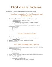 Introduction to Landforms Notes