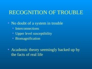 Recognition of ecosystem problems
