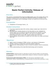 Neehr Perfect EHR Activity-Release of Information v8 hw.docx