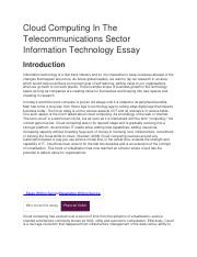 Cloud Computing In The Telecommunications Sector Information  Cloud Computing In The Telecommunications Sector Information Technology  Essaydocx  Cloudcomputinginthe Introduction  Whi