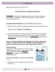 Student Exploration- Colligative Properties (ANSWER KEY ...