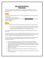 *Essay 1 (Poetry Instructions and Handouts)* ~ Instructions for Peer Review