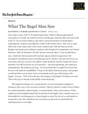What The Bagel Man Saw - The New York Times