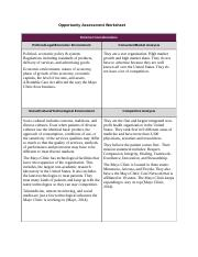 Opportunity Assessment Worksheet