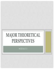 Lecture 3 Schaefer Major theoretical perspectives