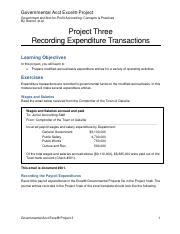 Govt. Acct Excel Project Three