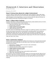 Homework 3: Interview and Observation