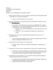 Study Questions - Chapter 1 - The Role, Cost, and Management of Hospitality Facilities
