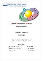 Quality Management in Service Organizations