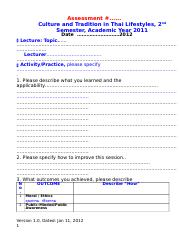 assessment form_semester 2- 2011