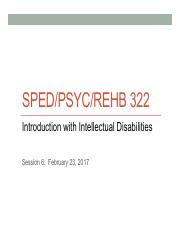 Lecture 6(2) - Intellectual Dissabilities Definitions