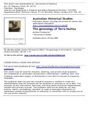 The genealogy of Terra Nullius