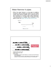 Flow through pipes (Water Hammer)