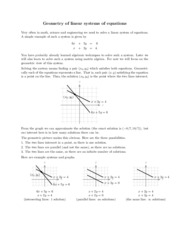 Geometry of linear systems of equations review