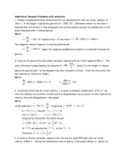 Additional kinematics Sample Problems with solutions