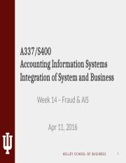 Week 14 - Fraud & AIS