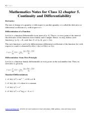 Mathematics Notes and Formula for Class 12 chapter 5. Continuity and Differentiability .pdf