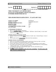 FNCE20001 Summer 2014 Mid-semester Exam Questions only