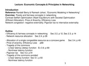 ELEN E6773 8 Economic Concepts and Principles in Networking