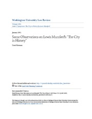 Some Observations on Lewis Mumford-s -The City in History-