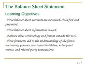 Chapter 4A(Balance Sheet Statement
