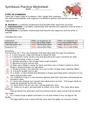 Symbiosis Practice Worksheet 2 KEY - Symbiosis Practice Worksheet ...