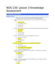 NOS130-Lesson 3 Knowledge Assessment KA