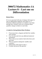 Lecture 8 - Last one on Differentiation