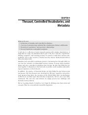 Thesauri Controlled Vocabularies and Metadata 1