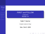 Lecture 8 - FIRST and FOLLOW
