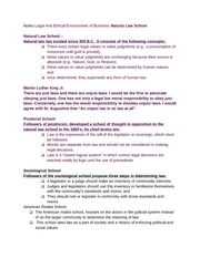 Notes Legal And Ethical Environment of Business Natural Law School