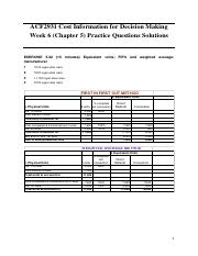 Week 6 (Chapter 5) Practice Questions Solutions