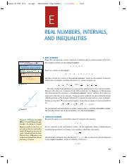 Notes for Real Numbers, Intervals and Inequalities