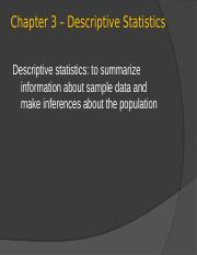 Chapter 4 - Descriptive Statistics Fall 16