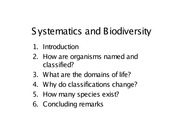 Systematics & Biodiversity (IVLE) 1-1
