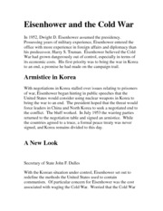eisenhower and the cold war eisenhower and the cold war in  eisenhower and the cold war eisenhower and the cold war in 1952 dwight d eisenhower assumed the presidency possessing years of military experience