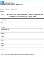 Outbreak-associated Salmonella enterica Serotypes and Food Commodities, United States, 1998–2008 - V