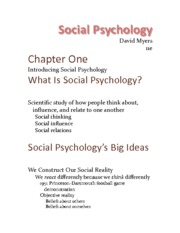 Chapter 1 - Introducing Social Psychology