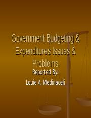 governmentbudgetingexpendituresissuesproblems-110913210013-phpapp01