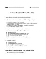 Final Anatomy MCQ Exam -july 2009.doc