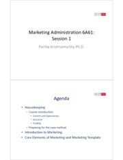 Session 1 - Course Introduction and Core Marketing Elements PARTIAL