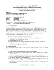 EEE_3033_Women_and_Minority_Entrepreneurship_Syllabus Fall 2011 v.1