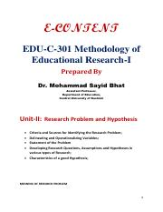 Research Problem and Hypothesis - Dr. Mohd Sayid Bhat.pdf