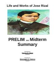 Prelim and Miterm Summary Life and Works of Jose Rizal.docx