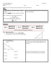 MGN11 6-3 Trigonometric Ratio and Missing Sides 011619 pdf