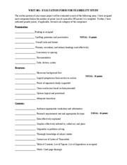 Feasibility Study Evaluation Sheet