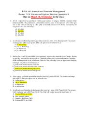 6. FINA 405 International Financial Management Chapter 7 Practice Questions II - Solution