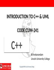 Week 3 Introduction to c++