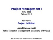 Lecture 4 Project Charter Deliverable for Project Management