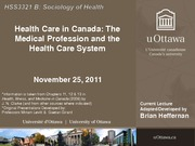 LECTURE 10B - Health Care in Canada